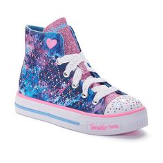 Skechers Twinkle Toes Studded Steps Girls' Light-Up High-Top Sneakers, Blue Other