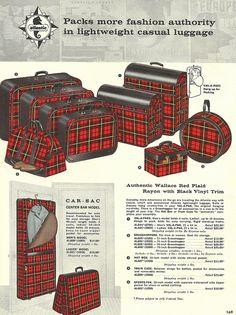 Vintage Red Plaid Luggage