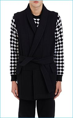 Balmain Melton Sleeveless Wrap Coat