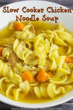Slow Cooker Chicken Noodle Soup is a good way to make good, old fashion chicken noodle soup. The slow cooker brings out the chicken flavor in the soup, that it is perfect for fixing it and forgetting it. A recipe from Seduction in the Kitchen.