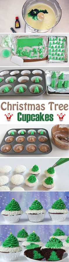 There's a holiday surprise hidden inside these festive Christmas tree cupcakes.