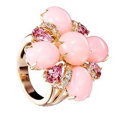 Who doesn't love Coco Chabel? Chanel Coco ring in Yellow Gold, Opals, Tourmalines and Diamonds Chanel Couture, Coco Chanel, Chanel Pink, Mode Rose, Chanel Jewelry, Pink Opal, Chanel Fashion, Karl Lagerfeld, A Boutique