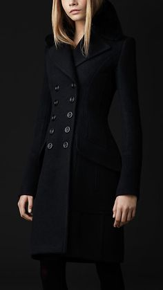 Fur Collar Felt Greatcoat | Burberry