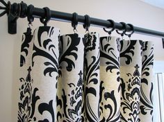 Pair of Decorative Designer Custom Curtains Drapes  50 x 84  Black and Natural Damask Contemporary Modern Style.  via Etsy.
