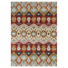 Showcasing an ikat motif in red, this hand-tufted wool rug effortlessly anchors your dining table or living room seating group.  Pro...