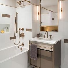 single modern vanity for powder room