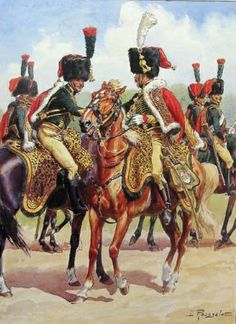 Chasseurs a Cheval subaltern and superior officer by L Rousselot.