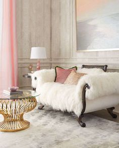 Fluffy sheepskin white couch by Old Hickory Tannery at Neiman Marcus.