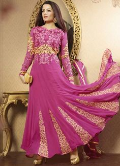 Celina Jaitley Spicy Faux Georgette Pink and Violet Anarkali Suit www.ethnicoutfits.com Product Code : (4779) Email : support@ethnicoutfits.com What's app : +918141377746 Call : +918140714515