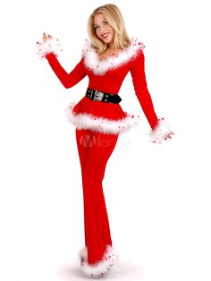 63e8c69ec3478 Long Sleeves Santa Clause Red Women's Christmas Costumes - Milanoo.com  Disney Characters, Fictional