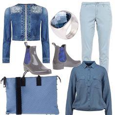 L'estate ci saluta e noi non vogliamo rinunciare al blu dell'estate e lo continuiamo ad indossare. Giacca di jeans con inserti in pizzo, pantaloni di cotone celeste, camicia leggera a poise, scarpe per la pioggia di vernice grigie e blu, accessori argento con pietra blu e l'intramontabile borsa Gabs.