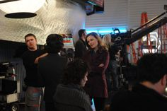 """Emily Deschanel behind the scenes of """"The Suit On The Set""""."""