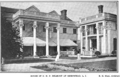 NY, Old Long Island: 'Brookholt' -  a Gilded Age mansion built for Oliver and Alva (Vanderbilt) Belmont in 1897. She had a new master bedroom suite added to Brookholt following Oliver's death in 1908. Alva sold it in 1923 and it was  in turn, sold  in late 1923 to the Coldstream Golf Club.