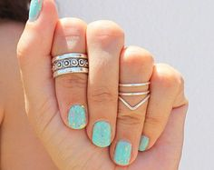 Silver Knuckle Ring Set of 4 Above the Knuckle Rings, Stacking Midi Ring, Rings, Mid Knuckle Ring