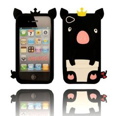 BYG Black 3D Pig Cartoon Animal Silicone Case Cover for Iphone 4/4G 4S + Gift 1pcs Phone Radiation Protection Sticker by animal devise, http://www.amazon.com/dp/B00CMSLMEQ/ref=cm_sw_r_pi_dp_lOPHrb110CFMR