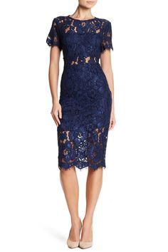 NSR | Short Sleeve Lace Midi Dress | Nordstrom Rack