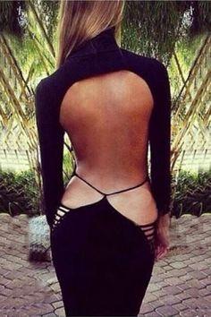 Black Back Hollow-out High Collar Long Sleeve Bodycon Dress