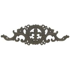 """Add rustic charm to your home or office with this stunning Brown Cast Iron Wall Decor with Fleur-De-Lis! With a gorgeous scroll design and a classic fleur-de-lis center, this piece is timeless and perfectly chic. Display it alongside other country-inspired décor for the perfect wall grouping!        Dimensions:      Length: 18 1/2""""    Width: 5 1/2""""          Hanging Hardware:          2 - Nail Hole Cut-Outs"""