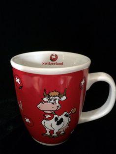 COTFER GENEVE SWITZERLAND Original Swiss Collection red coffee mug tea cup swiss