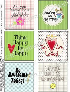 {Free Lunchbox Notes-48 In collection} Do you know how beautiful you are? You are Loved, Think happy be happy, You are so Creative!  Get all these lunchbox Notes for the kids-FREE
