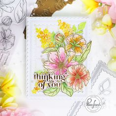 It's a New Day Floral – Pinkfresh Studio – rainbow in november Little Flowers, Small Flowers, Outline Images, Studio Cards, Pretty Pink Posh, Flower Center, Marker Art, Paper Roses, Sympathy Cards