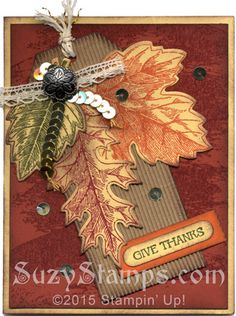 Stampin' Up! Cards - 2015-10 Class - Vintage Leaves, And Many More and Watercolor Wash stamp sets, Leaflets Framelits, Corrugated Paper