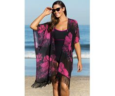 85cbeb17186fb Want swimsuit cover ups  Ombre  Rene  is your one stop shop for beach wear  and accessories! Floral Fringe Beach Cover Up Pink Flower Black Kimono  Lavendar ...