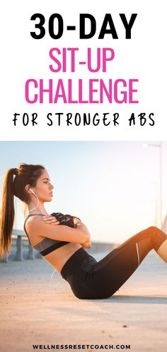 Summer is getting near. You dream of days by the beach. Fun in the sun. And showing off a little skin. So let's get summer body ready. And what better way to start than with a 30-day sit-up challenge? Once you start to see those sexy abs form, you won't want to stop. And now you might just have a new habit for life! Weight Loss Plans, Weight Loss Tips, Lose Weight, Sit Up Challenge, Yoga Fitness, Health Fitness, Clean Eating Tips, Killer Abs, Fitness Planner