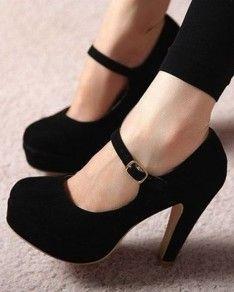 Black Round Toe High Chunky Elegant Pumps #BlueShoesWomens