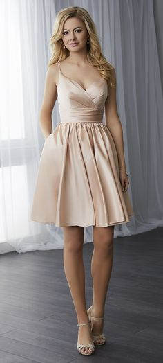 FALL 2017 // Style 22778 | This short satin dress has a natural waist placement with a gathered skirt including pockets. The bodice is made of draped satin with spaghetti straps. #ChristinaWuCelebration #Bridesmaids #ChristinaWu #FallWedding