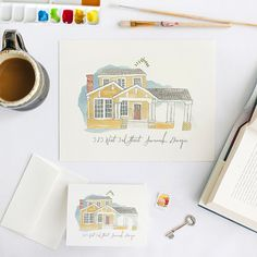 Custom Illustrated Home Stationery via Oh So Beautiful Paper: http://ohsobeautifulpaper.com/2014/06/quick-pick-lucky-luxe-illustrated-home-stationery/   Stationery + Photo: Lucky Luxe Couture Correspondence