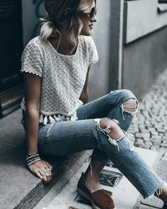 Again get some ripped jeans, not too much, just a little. Find your Inspiration @ #DapperNDame Pinterest. dapperanddame.com