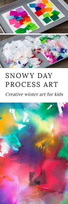 How to Make Tissue Paper Art with Snow – Pre-K Preschool Activities How to Make Tissue Paper Art with Snow Snowy Day Tissue Paper Art is a creative winter process art project for kids of all ages. This colorful art activity is perfect for home or school! Paper Art Projects, Winter Art Projects, Projects For Kids, Crafts For Kids, Diy Crafts, Snow Crafts, Winter Project, Adult Crafts, Foam Crafts