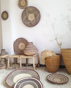 """The Basket lovers dream❣Tonga bAskets from Zimbabwe These are winnowing baskets.  After maize has been ground it is tossed on these baskets and any rough pieces/husks etc. are then removed.  Although they are the same tribe, separation of the two groups has led to a slight differentiation in design. The Zimbabwe type is characterized by its flatness, whereas the Zambian version is deeper with a broader square """"foot""""."""