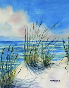 Seascape Watercolor Painting Sea Oats White Sand and by DreamON