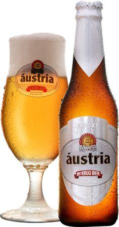 Cerveja Áustria Export, estilo Premium American Lager, produzida por Krug Bier, Brasil. 4.9% ABV de álcool.