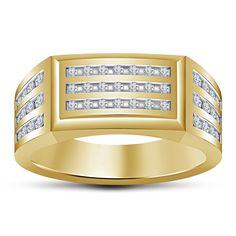 925 Silver 14k Yellow Gp Round Sim Diamond Men's Or Gents Wedding Band Ring #Unknown #MensWeddingRing
