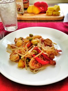 Healthy Dinners: Sesame Caribbean shrimp! A delicious combination of fruits and vegetables to pair with the sesame shrimp! #Healthy and extremely #Yummy!