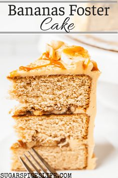Soft, cinnamon cake layers with a bananas foster flavored filling and caramel rum frosting. This Bananas Foster Cake will take your dessert game to a new level! #sugarspiceslife #cake #dessert #banana #caramel #bananasfoster #rum #buttercream #walnuts #birthday #holiday