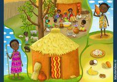 Describa la escena y dónde ocurre, free printable (groot formaat) / African children's illustrations preschool / Láminas Didácticas Diorama, Art For Kids, Crafts For Kids, Cultures Du Monde, African Theme, African Children, Sick Kids, Preschool Lessons, Easy Crafts