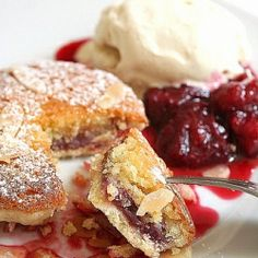Mini Bakewell tarts with a homemade cherry-rhubarb jam