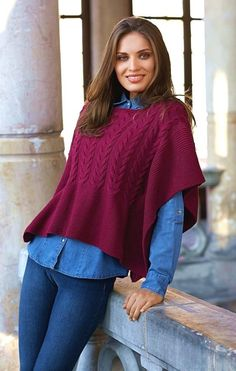 Free Knitting Pattern for a Cabled Ladies Poncho. Skill Level: Intermediate Women's poncho free knitting pattern with cable features. Free Pattern More Patterns Like This! Free Knitting Patterns For Women, Poncho Knitting Patterns, Knitted Cape, Knitted Shawls, Crochet Blouse, Knit Crochet, Laine Katia, Ladies Poncho, Poncho Shawl