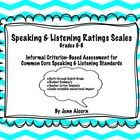 Common Core Speaking & Listening Rating Scales are informal evaluation tools to help determine education impact of speech & language disorders in the classroom, as well as to aide in documenting standard mastery, therapy baselines and postlines, or progress monitoring from grade to grade. This is also a great tool for students to self evaluate their communication skills.