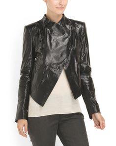 Leather Razor Cropped Jacket