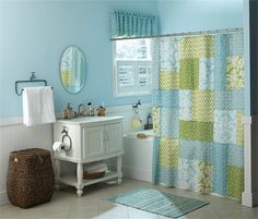 Country Porch Home Decor' features this Tranquil Shower Curtain by Park Designs. The entire Tranquil Collection in its soothing pattern is an airy cottage style and decorated with beautiful muted two-toned lime greens, whites, and ocean blue fabrics.  And to join your cottage theme, bring this calm touch into your bedroom with the matching quilt collection. The Country Porch Home Decor' also offers many coordinating cottage style curtains valances and curtain panels in this same pattern as…