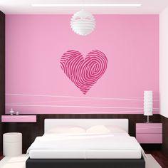 Dekorieren Sie Ihre Wände mit dem Wandtattoo Fingerabdruck Herz - Qualitätsfolie - 53+ Farben - Top Preise - Schnell & Sicher