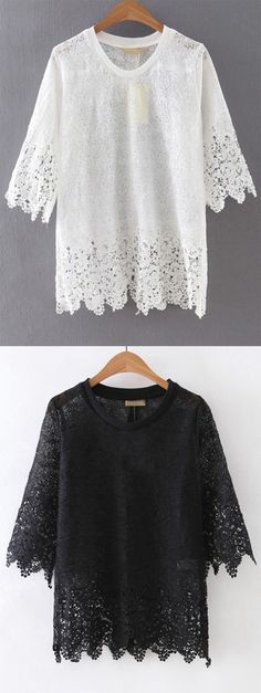 White Sheer Crochet Lace Blouse. Lovely blouse for girls. Versatile for the whole summer.