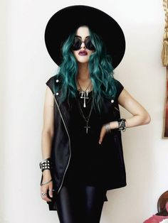 All black and Green hair