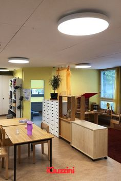Isola ceiling light for the nursery school Gerbeweg in St. Gallen, Switzerland. In its version with downlight distribution, Isola translates the concept of lightweight and elegance into light. Nursery School, Downlights, Switzerland, Innovation, Concept, Ceiling Lights, Lighting, Elegant, Bed