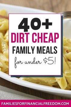 Find ideas for two weeks' worth of dirt cheap meals! This cheap meal plan will help you stretch your budget when money is tight! Quick cheap meals on a budget! Cheap Meals For 4, Super Cheap Meals, Dirt Cheap Meals, Cheap Meal Plans, Cheap Family Meals, Large Family Meals, Inexpensive Meals, Cheap Dinners, Large Families